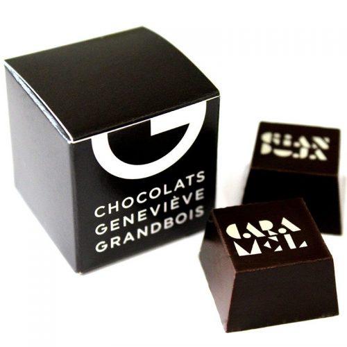 Boite carrée 2 chocolats, Chocolats Geneviève Grandbois