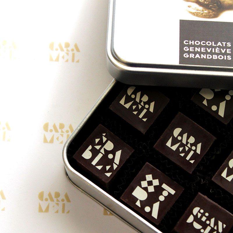 Boite Métallique 9 chocolats, Boite carrée 2 chocolats, Chocolats Geneviève Grandbois