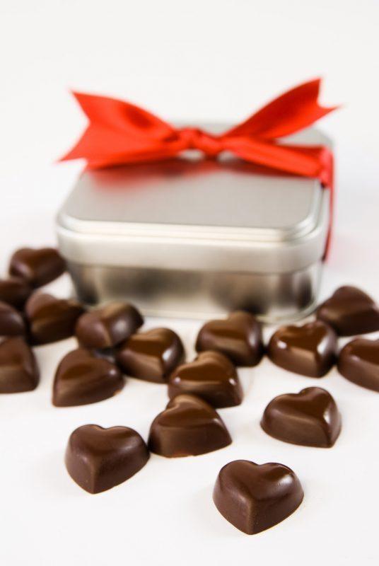 Cœurs en chocolat - Caramel