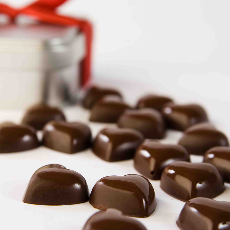 Gianduja chocolate hearts
